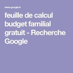 feuille de calcul budget familial gratuit - Recherche Google