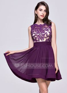 A-Line/Princess Scoop Neck Short/Mini Chiffon Homecoming Dress With Ruffle Beading Appliques Lace Sequins (022068816)