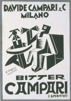 Strega e Campari: illustrazioni di Fortunato Depero #vintage #advertising #illustration
