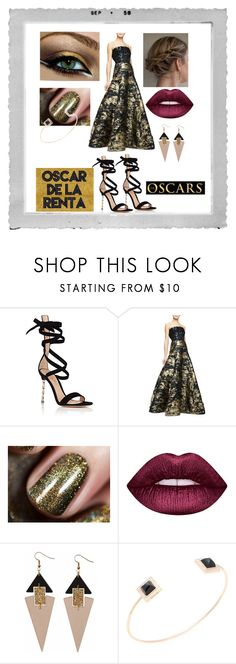 """""""Oscar at the Oscars"""" by snowflakeunique ❤ liked on Polyvore featuring Polaroid, Gianvito Rossi, Oscar de la Renta, Lime Crime, Toolally and Shay"""