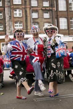Queen's Diamond Jubilee..the three cutest old ladies dressed up in union jacks and pearly kings and queens