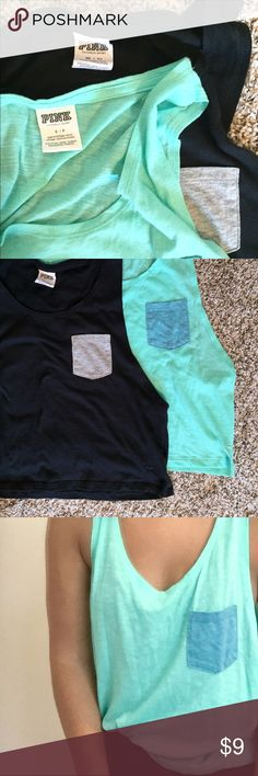 2 Victoria's Secret PINK Tank Tops / Muscle Shirts 2 Victories Secret tops of the same style, one black Extra-Small with grey pocket and one teal Small with blue pocket. Both are very soft and in great shape! PINK Victoria's Secret Tops Crop Tops