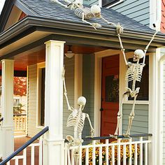 •Skeleton-Adorned Porch    Give your visitors a frightful hello with a welcome from these bare-boned greeters. Pose several skeletons on the porch and on the roof, securing them with fishing line. Add props as appropriate to your Halloween aesthetic -- scary or whimsical.