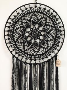 Magia negra BOHO Dreamcatcher  Crochet tapete encaje plumas