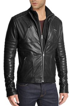 Handmade Mens Fashion Biker Leather Jacket, Men Hollywood Style Leather Jacket sold by Rangoli Collection. Lambskin Leather Jacket, Biker Leather, Leather Men, Quilted Leather, Leather Jackets, Motorcycle Leather, Black Leather, Real Leather, Motorcycle Style
