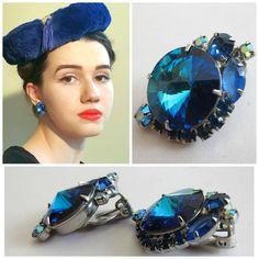 Vintage 1960s 1950s Blue Rhinestone Clip on Earrings / 60s 50s Sparkling Indigo Blue Violet Clips by BasyaBerkman on Etsy