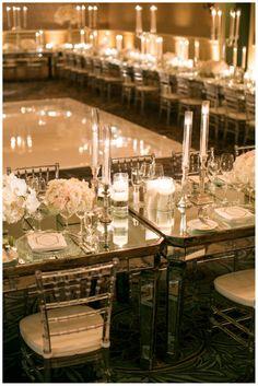 Kate & Russ' Wedding, Montage Laguna Beach | Details Details - Wedding and Event Planning, romantic wedding, wedding dance floor, mirrored tables, lush white, blush florals, candle wedding decor, clear chivaris
