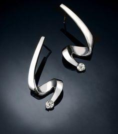 Argentium silver earrings, white sapphire earrings, wedding earrings, eco friendly, dangle earrings, contemporary jewelry  - 2380