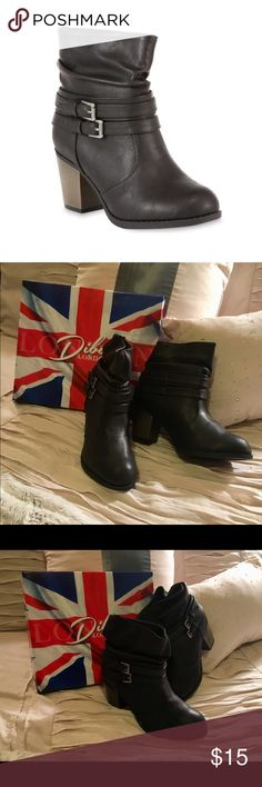 Diba London Women's Dora Boot - Black - Size 8 1/2 Great Deal! Brand New with Box.   Slip on a modern look with this women's Dora ankle boot from Diba London.   Bronze-tone buckle strap detailing and a scrunched shaft give this fashion boot its stylish edge, while soft padded lining ensures a comfy fit with each step.   •Size: 8 1/2 •Ankle height •Slip-on •Shaft height: 6 in. •Buckle detailing •Faux leather upper •Padded lining •Cushioned footbed Diba London Shoes Heeled Boots