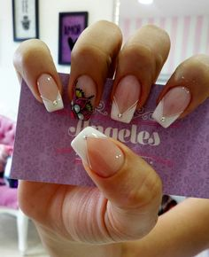 Shellac Pedicure, Pink Pedicure, Nail Manicure, Pedicures, White Nail Polish, White Nails, Long Nails, My Nails, Stiletto Nails