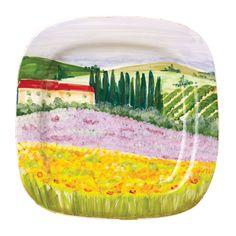 Vietri Landscape Wall Plates Square Hillside Villa Wall Plate