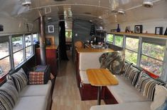 This summer, after six months of preparation including writing a detailed lease, we moved our family of five back into Eliza Brownhome, our 40′ Bluebird school bus. I'm sure a lot of you are wondering how we can fit a family of five into 300 square feet, so I thought it'd be nice to give a tour. I am pleased to introduce Eliza Brownhome, our beloved 1974 Bluebird schoolbus.