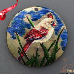 HAND PAINTED CHRISTMAS CARDINAL NATURAL MOTHER OF PEARL SHELL PENDANT ZP3000292 #ZL #PENDANT