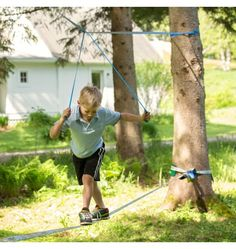 "FUN LINE SKU# 4934  This slackline is specifically designed for beginners and is therefore perfect for children! The line itself is 2"" wide ..."