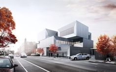Intersecting blocks clad in concrete, metal and glass will form a new station for New York City Police Department's 40th precinct, in the Melrose neighbourhood of the Bronx.