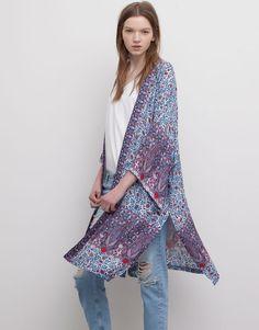 Pull&Bear - mujer - kimonos - kimono largo boho - fresa - 05472353-V2015