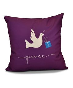 Love this Purple 'Peace' Dove Throw Pillow on #zulily! #zulilyfinds