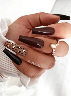 Brown Acrylic Nails, Brown Nails, Best Acrylic Nails, Fall Nail Designs, Acrylic Nail Designs, Acrylic Art, Art Designs, Brown Nail Designs, Long Nail Designs
