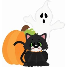 Silhouette Design Store - View Design #95916: halloween cat and ghost