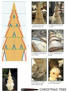 Chainsaw carving patterns free CHRISTMAS TREE 2of2