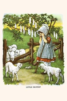Little Bo Peep, Illustrated by Clara M. Vintage Children's Books, Vintage Art, Little Boy Blue, Little Bo Peep, Vintage Nursery, Mother Goose, Children's Book Illustration, Book Illustrations, Nursery Prints
