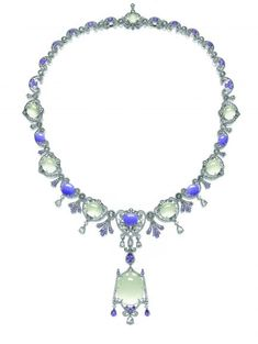 Natural Icy Jadeite, Lavender Jadeite, Purple Sapphire and Diamond Demi-Parure, Alessio Boschi  Acquired by Liu Xiao-Qing  for HK$2,124,000
