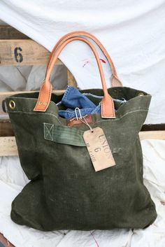 bbb36f70220 leather and army green canvas tote. Upcycle Studio · Eco Friendly Bags