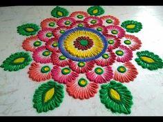 Easy and beautiful rangoli design. Innovative rangoli by Revati. Simple Rangoli Designs Images, Colorful Rangoli Designs, Rangoli Designs Diwali, Beautiful Rangoli Designs, Kolam Designs, Mehndi Images, Diwali Colours, Rangoli Colours, Rangoli Patterns