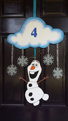 Frozen Olaf door hanger for 2014 Christmas with glitter snowflakes and styrofoam…