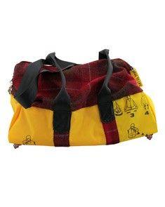 Bag to Life Weekender red -Weekendtas upcycled reddingsvesten en Tweed (100% scheerwol)