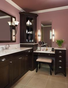 http://bathroom-vanity.club/tutorials/bathroom-ideas/ Feminine Bathroom Painted In Pink Combined With Dark Brown Wooden Corner Bathroom Vanity With Buffet ✿  ✿