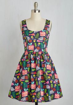 Gee Jolly Dress - Multi, Novelty Print, Print, Fit & Flare, Sleeveless, Woven, Better, Quirky, Gifts2015, Mid-length