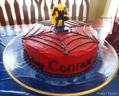 Spiderman Cake - Puddy's House Spiderman Cake Topper, Spiderman Birthday Cake, Birthday Cakes For Men, Happy Birthday, Birthday Celebration, Birthday Parties, Building Cake, Creative Birthday Ideas, Red Cake