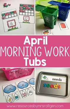April Morning Work Tubs | Let your Kindergarten students work on 20 great activities all month now with this great download. You get spring ten frames, counting mats, flower color sort, rainy day sort, flower cut & punch, spy a word, bunny line tracing, recycling or trash sort, spring word building, sight word puzzles, 1-10 puzzles, sentences, playdough mats, roll & graph, build a nest, pinning pages, picture search, sequencing, color by number, and number nest. Great for your Kinders all month!