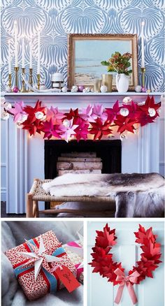 paper poinsettias houseandhome: i just love everything about this look ESP the wallpaper