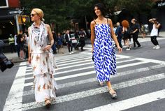 Street Style: New York Fashion Week Spring 2015, Part 2 – Vogue Cobalt print dress + silver platforms? Yes, please. #cobaltdress