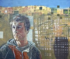 DEPARTURE, PORTRAIT OF JAKE GOLDSMITH 2014 oil and wax on canvas by Tom Wood
