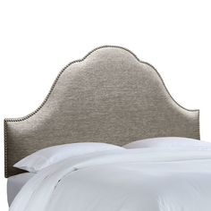 House of Hampton Brighton Nail Button Upholstered Panel Headboard Size: Queen, Upholstery: Groupie Pewter