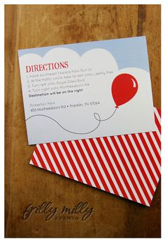 PRINTABLE INSERT CARD - Up, Up & Away collection by Frilly Milly. $12.00, via Etsy.