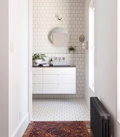 """206 Likes, 3 Comments - Heath Ceramics's Tile Feed (@tilemakestheroom) on Instagram: """"Staggered () by this installation. Design: @elizabeth_roberts_architecture . : @dustinaksland"""""""
