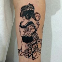 japanese tattoos symbols and meaning Geisha Tattoos Sleeve, Asian Tattoo Sleeve, Japanese Sleeve Tattoos, Sleeve Tattoos For Women, Tattoos For Guys, Irezumi Tattoos, Leg Tattoos, Body Art Tattoos, Dragon Tattoos