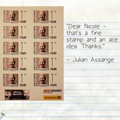 """""""""""Dear Nicole - that's a fine stamp and an ace idea."""" - Julian Assange Nicole received this letter awhile ago."""