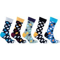 Men's 5-Pair Cool Polka Dot Socks