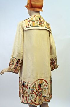 14.02.01 Coat (back view), silk, applique Egyptian embroidery motif, unlabelled, late 1920s, donor: purchase by the Friends of the Fashion History Museum