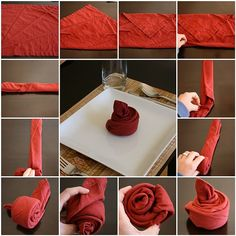 How to fold a napkin into a bud....YAY!