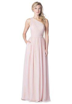 One shoulder dress with sweetheart neckline,  3D flower shoulder detail, pockets and center back zipper | Bari Jay Bridesmaids | https://www.theknot.com/fashion/bc-1607-bari-jay-bridesmaids-bridesmaid-dress