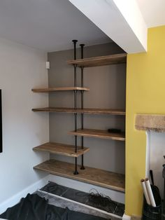 Bespoke shelving made using scaffold boards and pipe and fittings. Living Room Interior, Home Living Room, Home Interior Design, Living Room Decor, Bedroom Decor, Pipe Furniture, Industrial Furniture, Industrial Pipe, Furniture Ideas