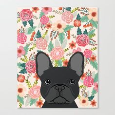 French Bulldog florals dog portrait pet art dog breeds custom frenchie gifts Canvas Print