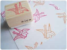 Origami crane stamp Japanese origami crane by JapaneseRubberStamps