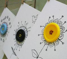 handmade doodele card from ert&ris: : knappeblomster ... big buttons center doodle flowers ...